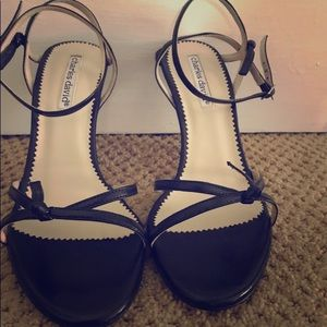 Charles David Black strapped 4 inch heels